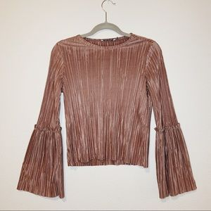 Metallic pink long sleeve top
